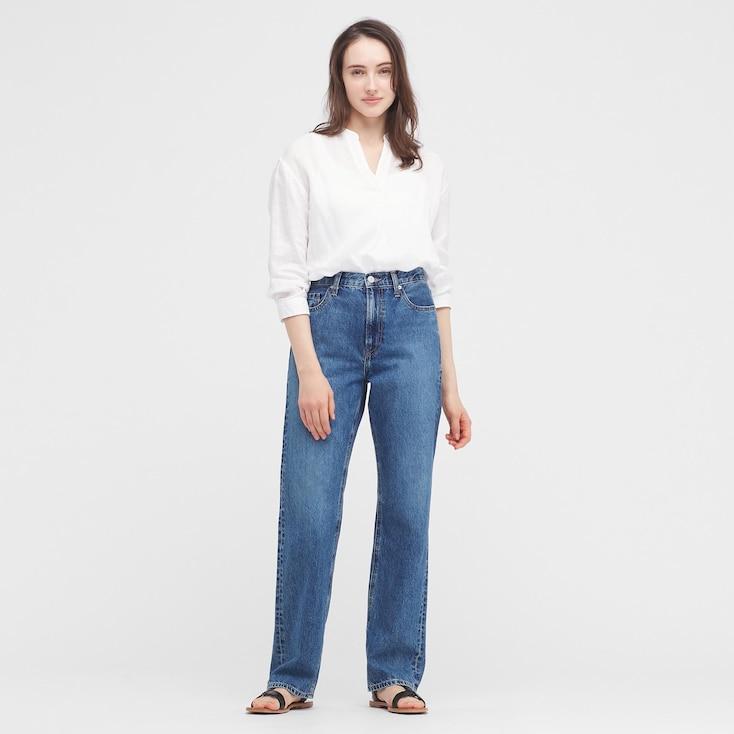 Women Premium Linen Skipper Collar 3/4-Sleeve Shirt, White, Large