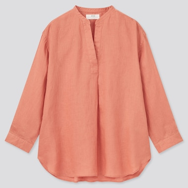 Women Premium Linen Skipper Collar 3/4-Sleeve Shirt, Light Orange, Medium