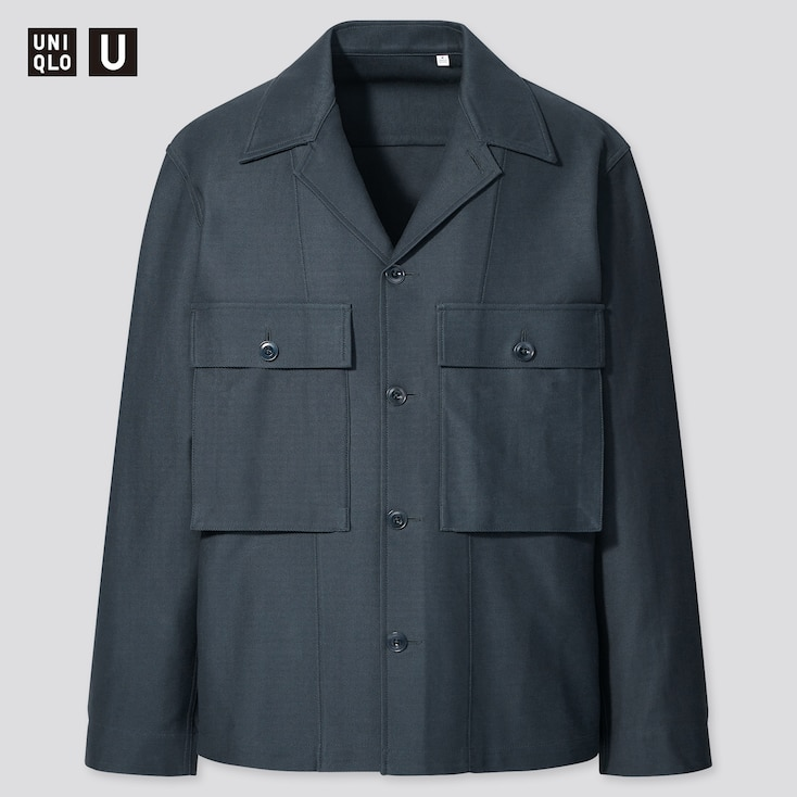 U Jersey Shirt Jacket, Blue, Large