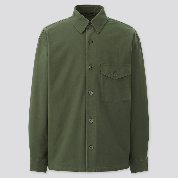 Jersey Over Shirt Jacket, Olive, Large