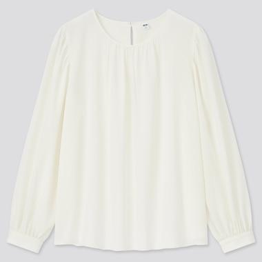 Women Rayon Georgette Long-Sleeve Blouse, Off White, Medium