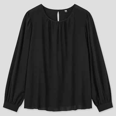 Women Rayon Georgette Long-Sleeve Blouse, Black, Medium