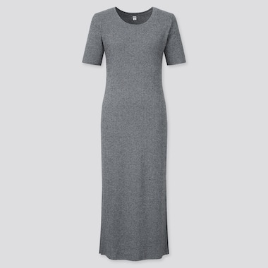 Women Ribbed Side Slit Short-Sleeve Long Dress, Gray, Medium