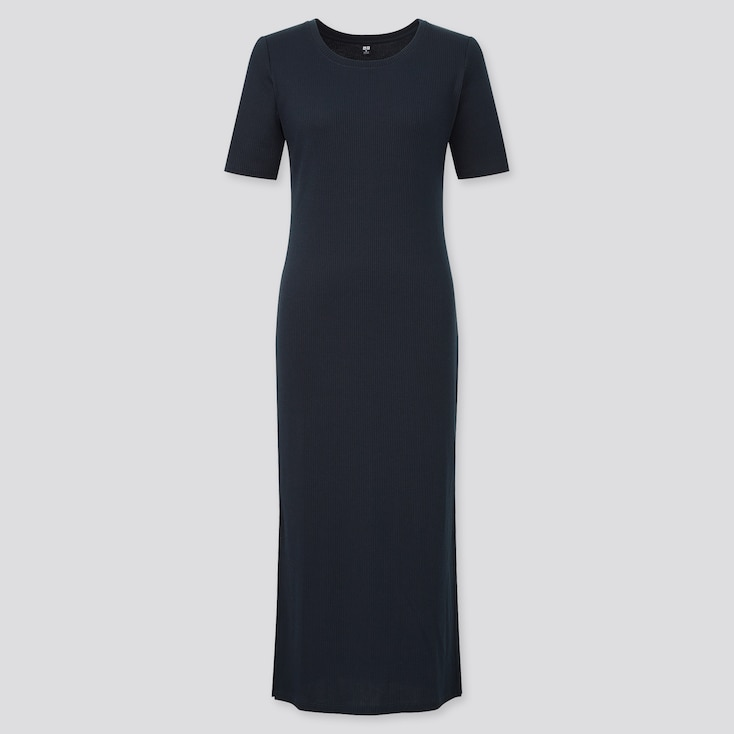 Women Ribbed Side Slit Short-Sleeve Long Dress, Black, Large