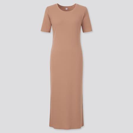 Damen Geripptes kurzärmliges Kleid mit Seitenschlitz
