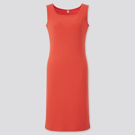 Damen Geripptes ärmelloses Kleid mit Karree-Ausschnitt