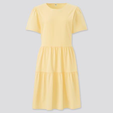 Damen Kurzärmliges gerafftes Baumwollkleid