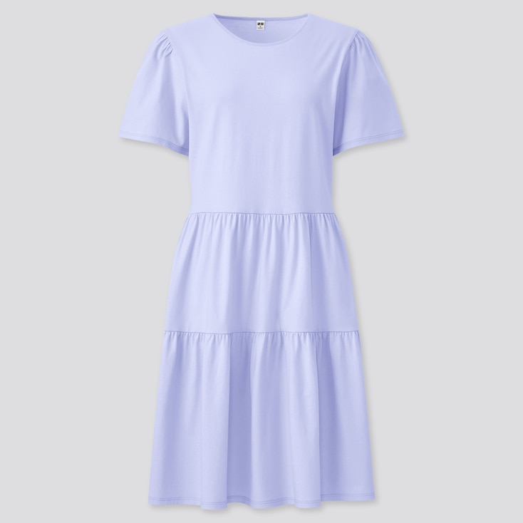 Women Smooth Cotton Short-Sleeve Dress, Light Purple, Large