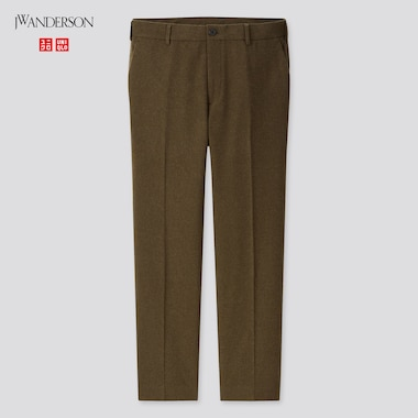 Men Wool-Blend Flat-Front Pants (Jw Anderson), Olive, Medium