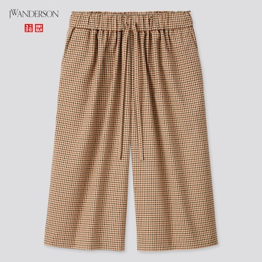 Women JW ANDERSON Wide Fit Cropped Checked Trousers