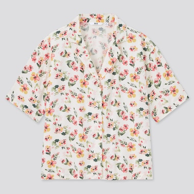 Women Rayon Open Collar Short Sleeved Shirt
