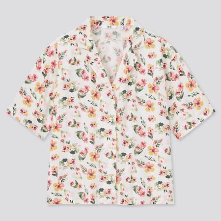 Women Viscose Open Collar Short Sleeved Shirt