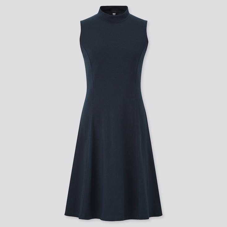Women Mock Neck Sleeveless Flare Dress, Black, Large