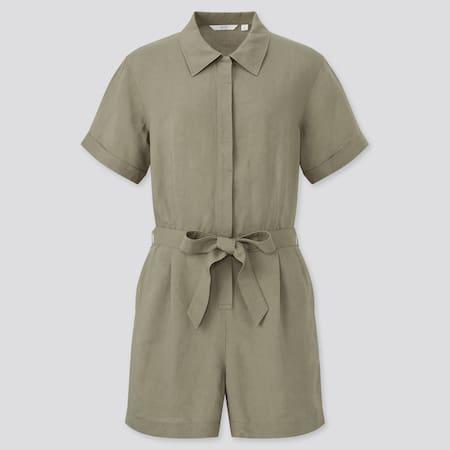 Women Linen Blend Short Sleeved Romper