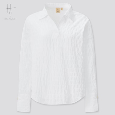 Women Hana Tajima Cotton Seersucker Skipper Collar Shirt