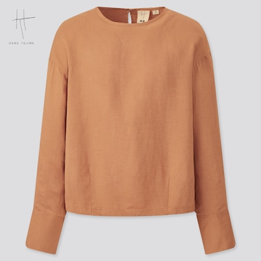Women Rayon-Linen Long-Sleeve Blouse (Hana Tajima), Orange, Medium