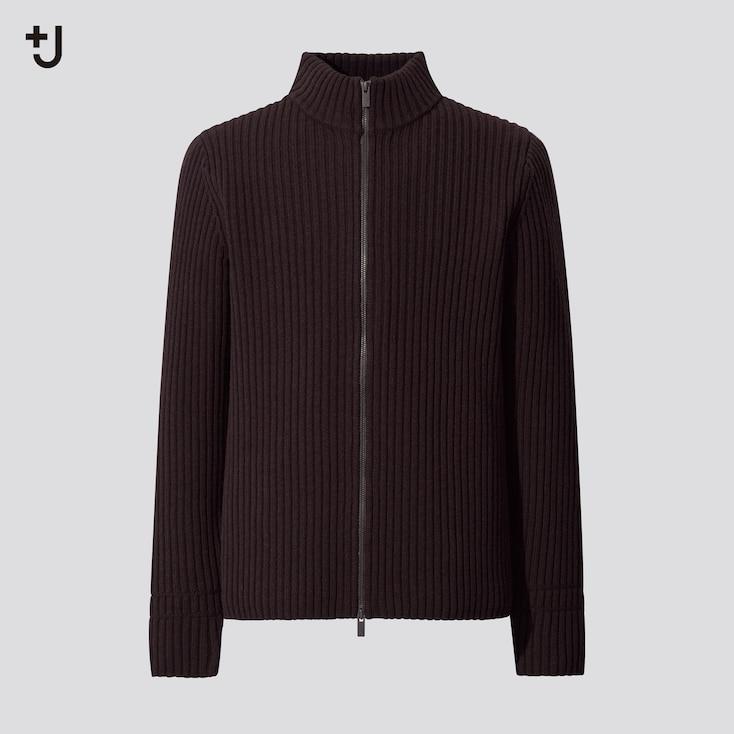 Men +J Ribbed Full-Zip Long-Sleeve Sweater, Dark Brown, Large