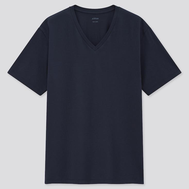 Men Airism Cotton V-Neck Short-Sleeve T-Shirt, Navy, Large