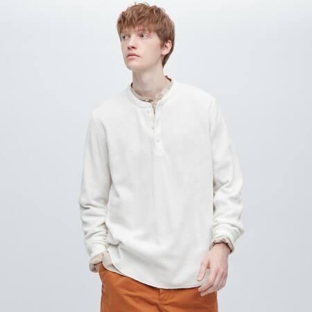 Men Waffle Henley Neck Long Sleeved T-Shirt