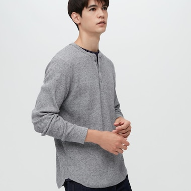 Men Waffle Henley Long-Sleeve T-Shirt, Gray, Medium