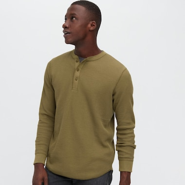 Men Waffle Henley Long-Sleeve T-Shirt, Olive, Medium
