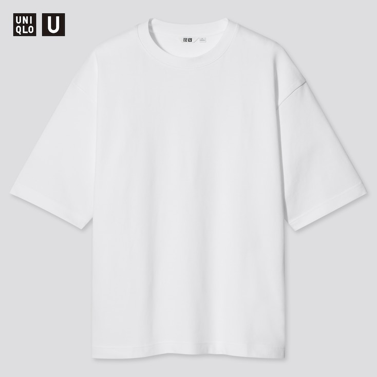 U Airism Cotton Oversized Crew Neck T-Shirt, White, Large