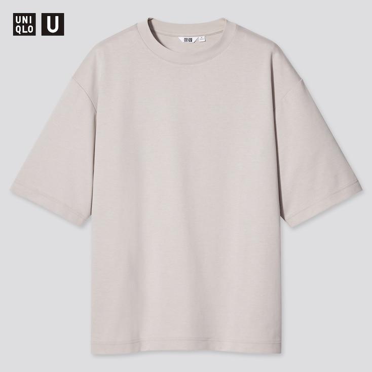 U Airism Cotton Oversized Crew Neck T-Shirt, Light Gray, Large