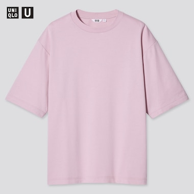 U Airism Cotton Oversized Crew Neck T-Shirt, Pink, Medium