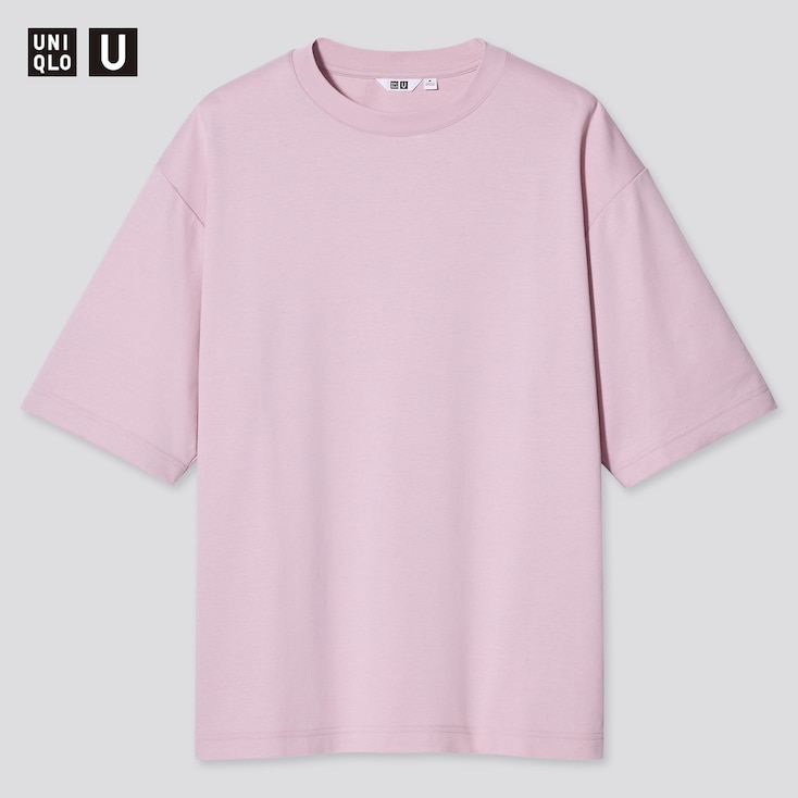 U Airism Cotton Oversized Crew Neck T-Shirt, Pink, Large