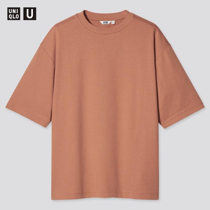U Airism Cotton Oversized Crew Neck T-Shirt, Orange, Large