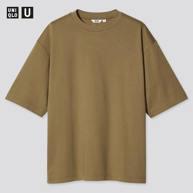 U Airism Cotton Oversized Crew Neck T-Shirt, Brown, Medium