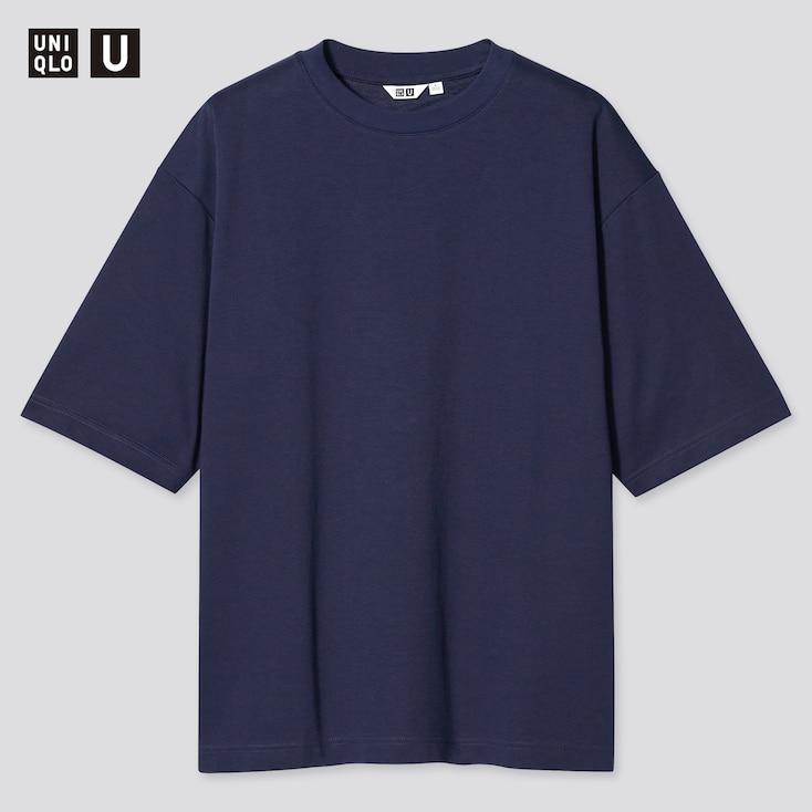 U Airism Cotton Oversized Crew Neck T-Shirt, Navy, Large