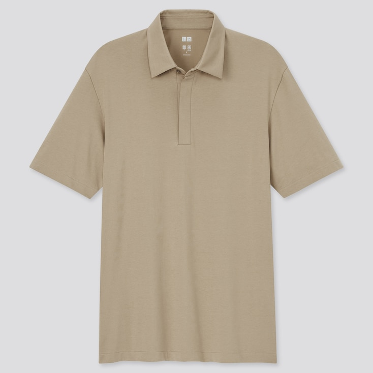 Men Airism Fly-Front Polo Shirt, Beige, Large
