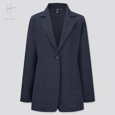 Women Rayon Linen Short Coat (Hana Tajima), Navy, Medium