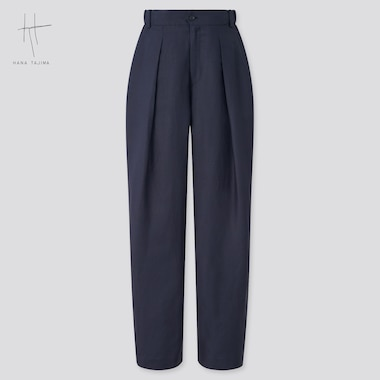Women Hana Tajima Rayon Linen Blend Tuck Tapered Trousers