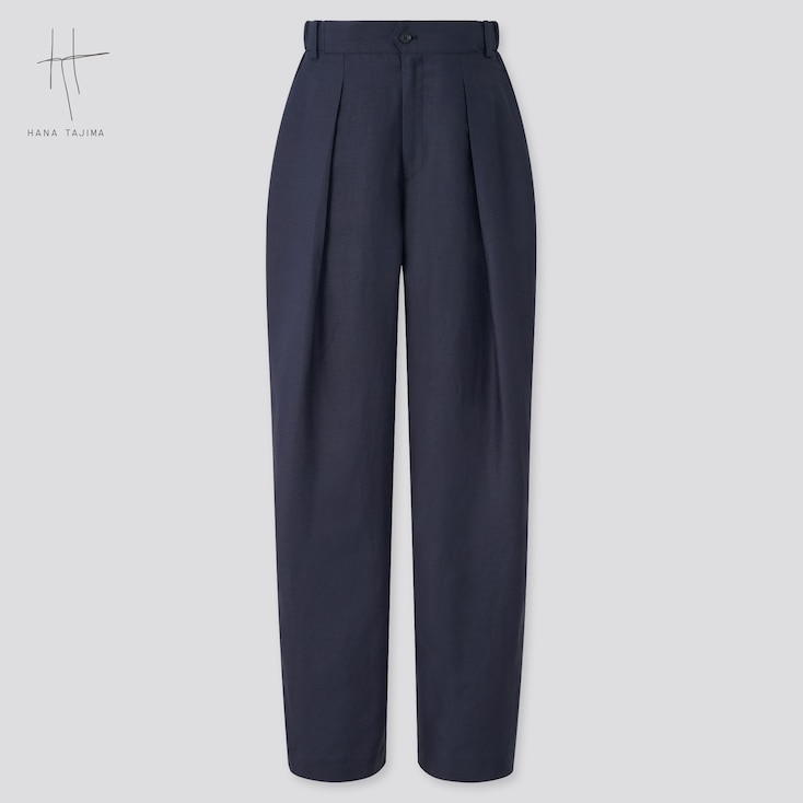 Women Rayon-Linen Tucked Tapered Pants (Hana Tajima), Navy, Large