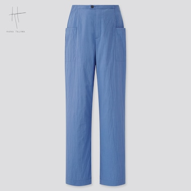 Women Cotton Seersucker Cropped Pants (Hana Tajima), Blue, Medium