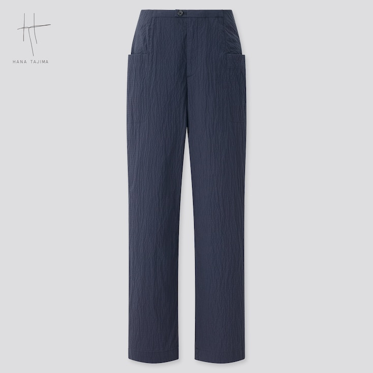 Women Cotton Seersucker Cropped Pants (Hana Tajima), Navy, Large