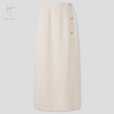 Women Rayon-Linen Wrap Skirt (Hana Tajima), Natural, Medium