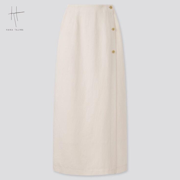 Women Rayon-Linen Wrap Skirt (Hana Tajima), Natural, Large