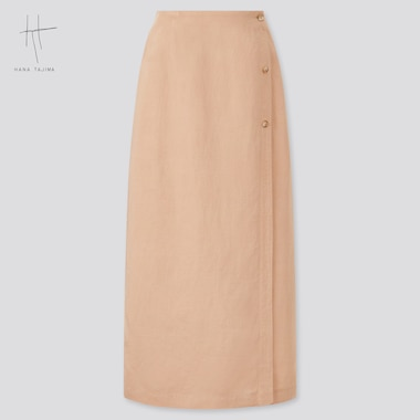 Women Hana Tajima Rayon Linen Blend Wrap Skirt