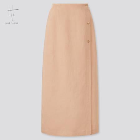 Women Hana Tajima Rayon Linen Blend Wrap Skirt