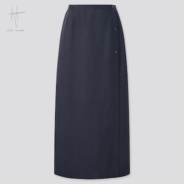 Women Rayon-Linen Wrap Skirt (Hana Tajima), Navy, Medium