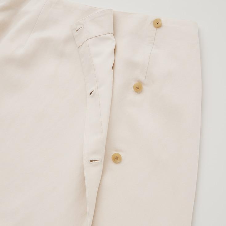 Women Rayon-Linen Wrap Skirt (Hana Tajima), Beige, Large