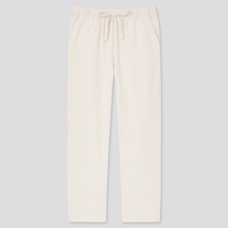 Women Cotton Relax Solid Ankle Pants (Online Exclusive), Off White, Large
