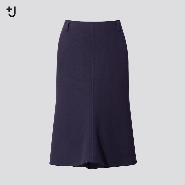 Women +J Double-Face Skirt, Blue, Large