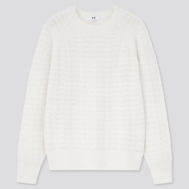 Women Light Souffle Yarn Pointelle Crew Neck Sweater, Off White, Medium