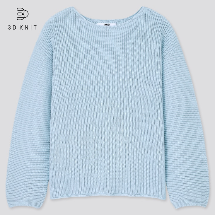 Women 3d Knit Cotton Ribbed Boat Neck Sweater, Blue, Large