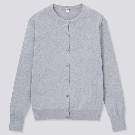 Women 100% Supima Cotton Crew Neck Cardigan