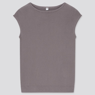 Women Supima Cotton Ribbed French Sleeved Jumper